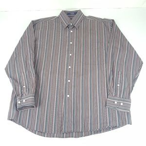 Mens XL? Multicolor Pinstriped Career Button Down